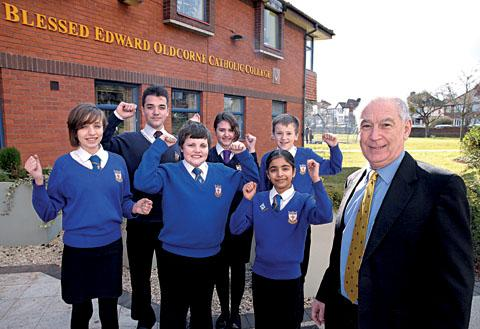 OFSTED DELIGHT: Sean Devlin with pupils, back row from left, Natalie Ballone, aged 14, Ben Hughes, 16, Helena Corbett, 16,  and Patrick Kavanagh, 12, and pictured front 12 -year-old Ben Doyle and Ansa Lavy. 1113267601