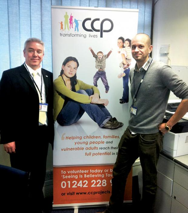 CHARITY: Dave Jones, left, with Matt Gasside, community services manager, at the County Community Projects launch.