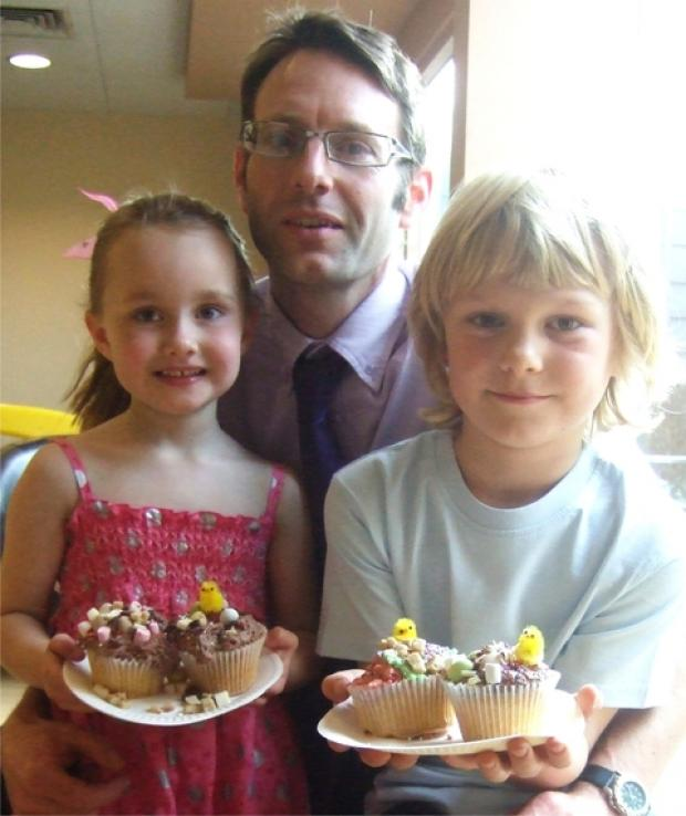 Rose, Nick and Jack Baker ready for Easter cup cake decorating in Wychbold.