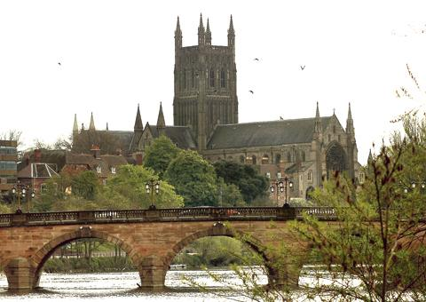 Worcester boasts a spectacular cathedral and the river Severn