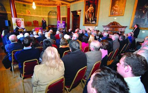 STANDING ROOM ONLY: Crowds pack the Guildhall to hear UKIP leader Nigel Farage discuss county issues.