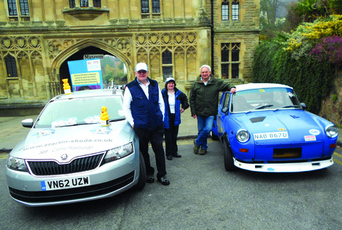 ON THE ROAD: Malvern mayor and mayoress Ian and Janet Hopwood with Mark Young and his Skoda.