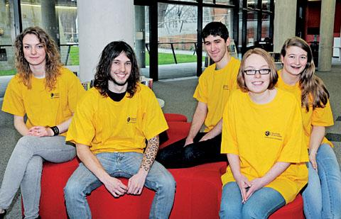 MENTORS: From left, Silvia Gevac, Scott Riches, Christopher Fossey, Emma Brown and Kelly Leach at the Hive.