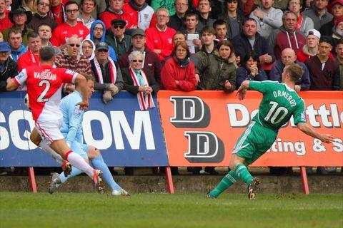 Hammer blow: Brett Ormerod fires Wrexham ahead. Picture: ADRIAN HOSKINS