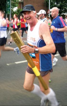 PASSION: George Nicholson, a former torchbearer, is in training to take part in the Great North Run in September.