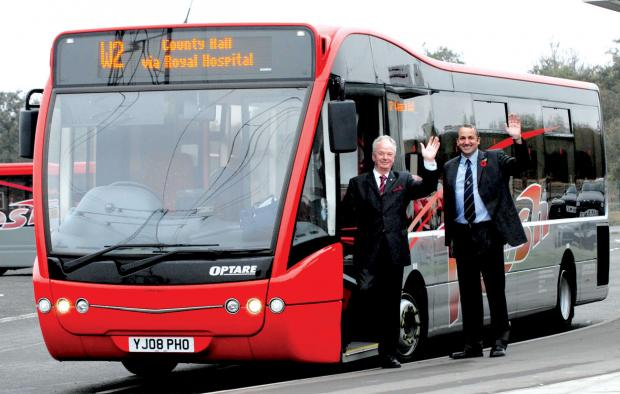 Worcester News: The launch of the park and ride service at Sixways - which is now under threat