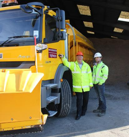 Worcestershire County Council cabinet member for highways and transport Coun John Smith OBE with winter maintenance supervisor Anthony Agate