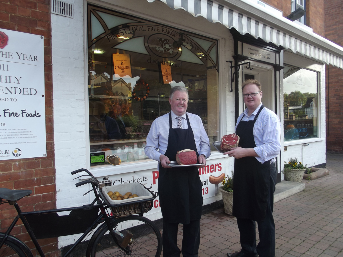 BUTCHERS PLUS: Phil Checketts and son David are proud to have reached the finals of the Butcher of the Year awards.