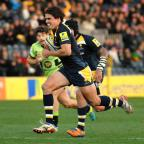 Worcester News: RUNNING MAN: Worcester Warriors' Ignacio Mieres breaks free to score a converted try during his side's loss to Northampton Saints.