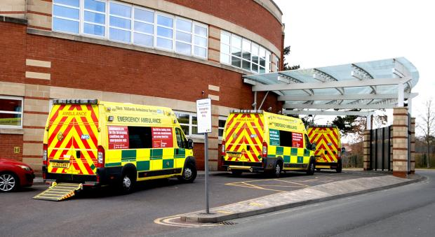 Ambulances outside Worcestershire Royal Hospital