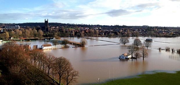 The flood plains of Worcestershire have taken the brunt of the water