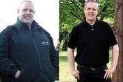 BEFORE AND AFTER: Matt Cording who now weighs just 12 stone and 6lbs. He was 19 stone and 13.5lbs.