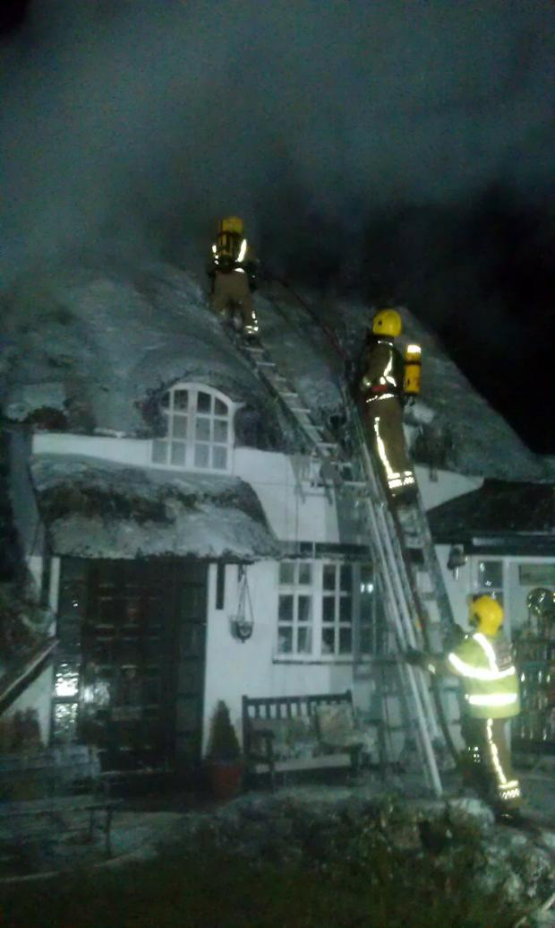 Worcester News: Fire crews battled the blaze at Holt Heath, near Worcester, last night