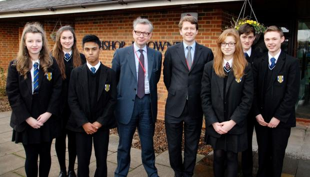 Education Secretary Michael Gove and Worcester MP Robin Walker with Bishop Perowne pupils