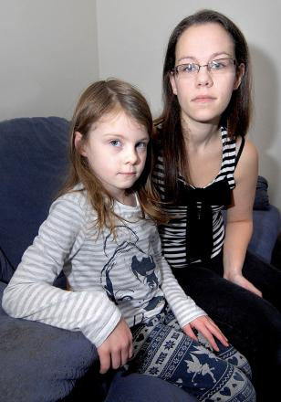 ORDEAL ON BUS: Paige Taylor, aged five, and her mother Hayley Jones.