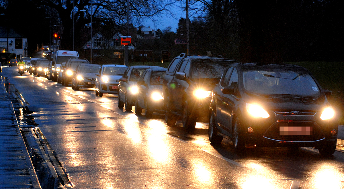 Traffic on Hylton Road in Worcester yesterday evening