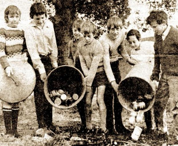 EARNING A BOB: The young helpers at their work, from left, Claire Peak, Dave Brown, Gary King, Roger Peak, Mark Layland. Russ Chambers, Stephen Chambers, in the original photograph that appeared on the front of the Worcester News 45 years ago in 1969.