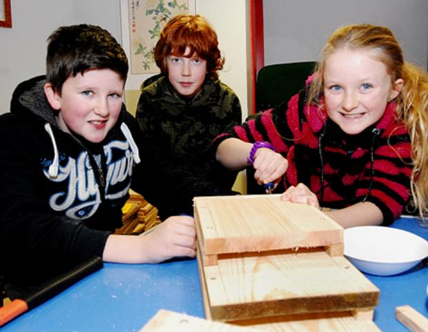 (L-R) Alfie McPhie, Zak Prest and Amber McPhie making a bat box at Bishops Wood centre