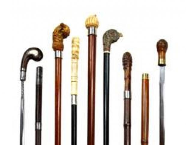 Walking sticks and canes from the collection of Mr. Galloway of Leominster, which will be on offer at this month's Malvern Antiques & Collectors Fair
