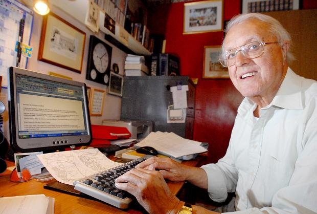 Les Bishop, pictured in 2009 while writing a book on Warndon Villages' parish history.
