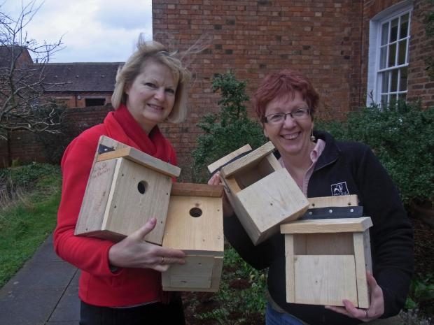 Worcester News: Julie Allen (left) and Anne Williams (right) with some of the bird boxes.