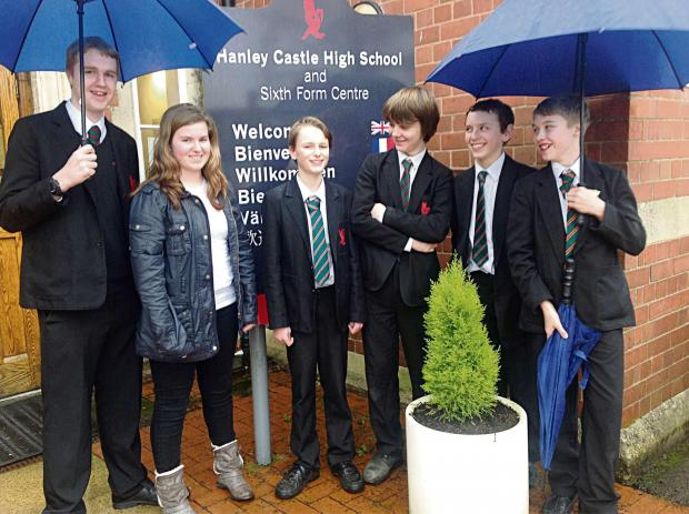 Hanley Castle High School students have been battling floods to get in. From leftt: Jack Walton. aged 16, Alice Higgins, 17, Oliver Sutton, 12, Joshua Whitebeam, 13, George Weaver , 14, and Jamie York, 13.