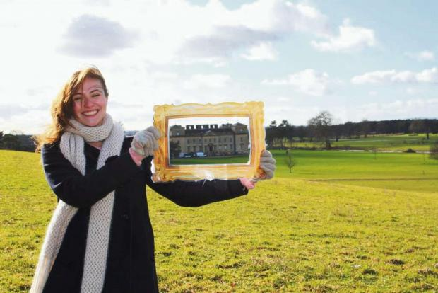 Charlotte Banks, volunteer at Croome, being a landscape detective in the Croome parkland. Photo by  Tracey Blackwell.