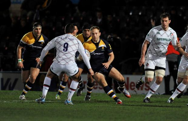 INFLUENTIAL DISPLAY: Home-grown full-back Chris Pennell on the ball during a superb performance for Worcester Warriors in their narrow defeat to last season's play-off champions Leiceste