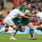 Worcester News: Ryan Lamb, pictured in action against Worcester Warriors' Sam Betty (left) and Ignacio Mieres at Welford Road last September, may not make his debut against Northampton on Saturday.