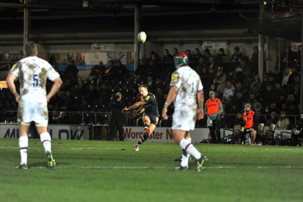 ON THE MARK: Chris Pennell kicked 17 points for Worcester Warriors in their narrow 23-22 defeat to Leicester Tigers.