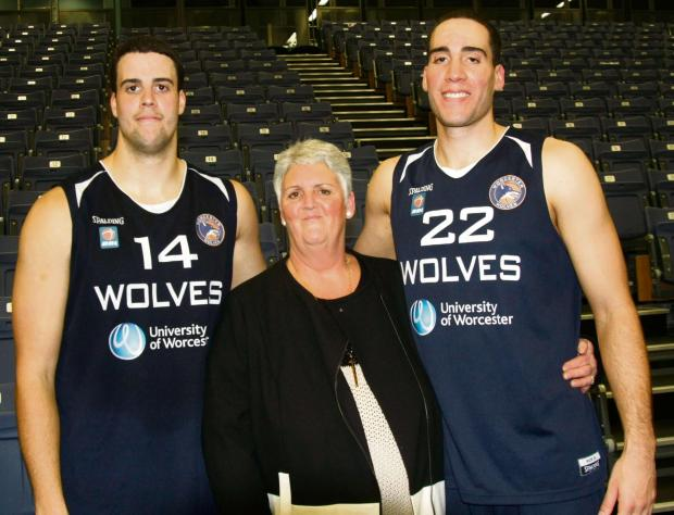 FAMILY REUNION: Jamal (left) and Kai Williams with their mother Karen who has travelled from Canada to see her sons in action for Worcester Wolves.