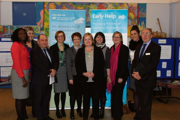 Worcester News: Louise Casey (centre) with the partners of Worcestershire Stronger Families.