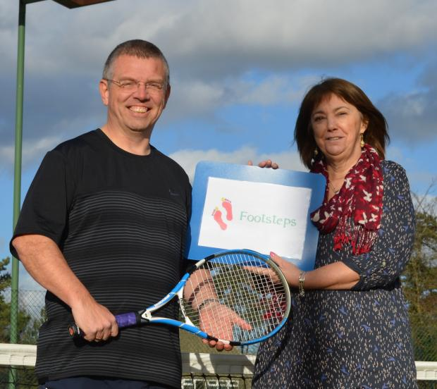 Worcester News: Neil Bates from Droitwich Tennis Club and Susan Smith from Footsteps