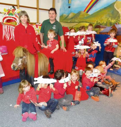 The children were joined by Helen Deamer, equine specialist at Madresfield Early Years Centre and Darren Rooker from Worcestershire Animal Rescue Shelter.  Alissa Lancett is on the pony.