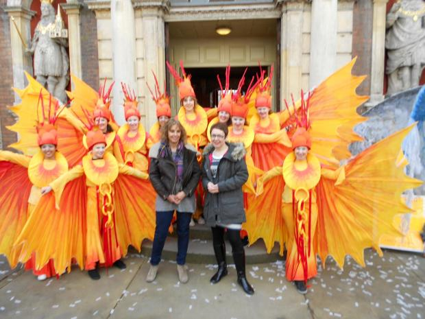 Worcester News: Jane Hytch and Helen Large with street performers