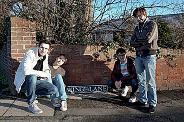 RUDE: Cast members from TV's The Inbetweeners, who visited Minge Lane for Comic Relief