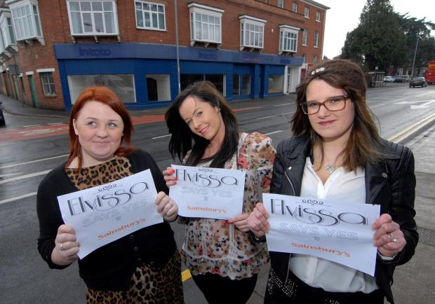 (left to right) Samantha Lewis, salon owner Hayleigh Parrish and Emma Harris from Elvissa Hair and Beauty in Barbourne, Worcester who believe plans for a Sainsbury's Local store opposite their business is a good thing.