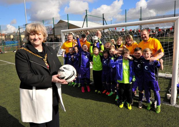 John Anyon          29/2/14            0914533201Worcester Mayor Cllr Pat Agar joined young footballers from WCT Raiders and family members of Joey Gormley who died of MS in 2012 at a charity football day at Brickfields Park on Saturday (4333700)