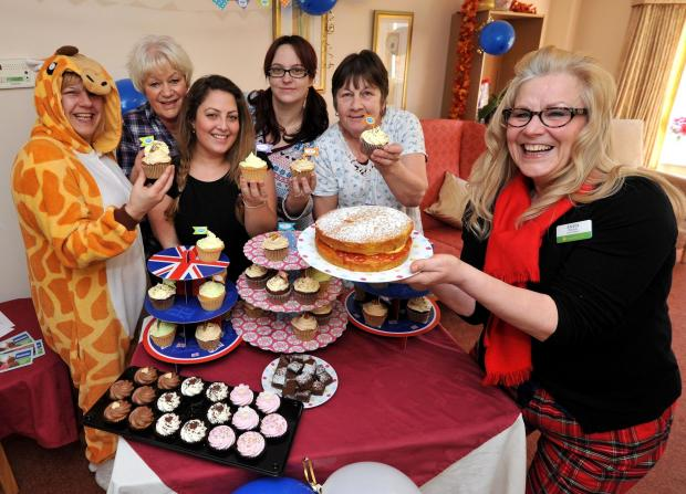 Time for a Cuppa Event for Dementia UK at Heathland Residential Care Home in Pershore on Friday........Staff, Netty Matthews, Netty Ainge, Melissa Alliband, Kerrie Haines, Hilary Bell and Anita Fletcher with their cake stall. Photo by John Anyon (10145384