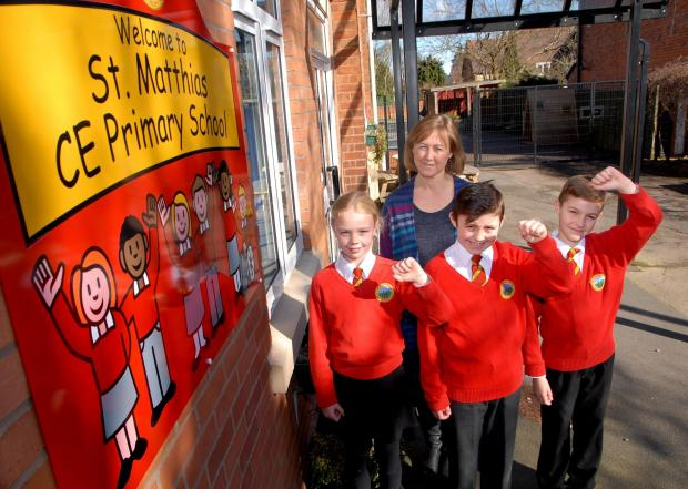 1014538701 Paul Jackson 07.03.14 Malvern St Matthias CE Primary School have had a good Ofsted report. From left - Madison Mitchell, nine, Claire Davies, head teacher, Dylan Halfpenny, nine and Joel Stimson, nine. (4464090)