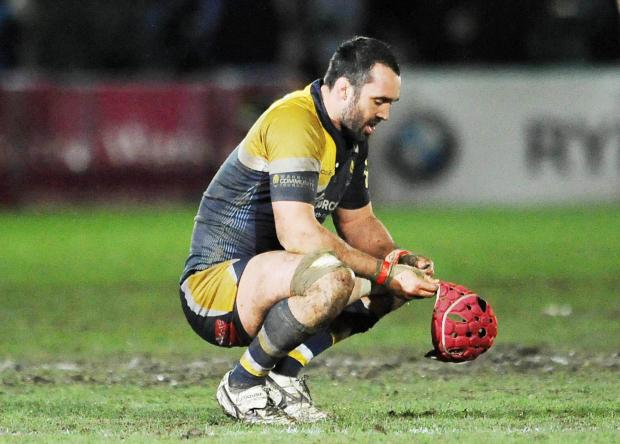 Worcester Warriors' captain Jonathan Thomas dejected at the end of the Aviva Premiership match at the Sixways Stadium, Worcester. (4533668)