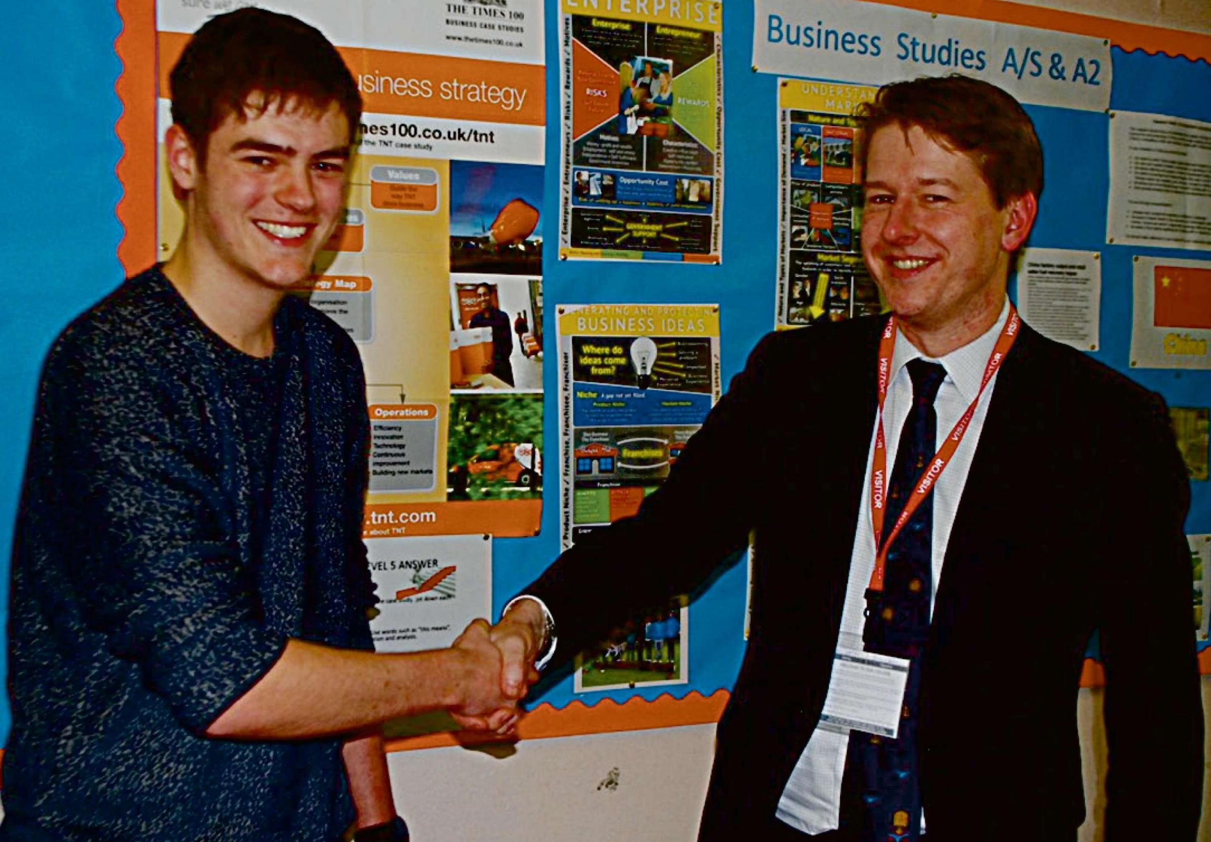 Photo (l to r) Matthew Hawkins, Business BTEC Level 3 student at Worcester Sixth Form College, and Worcester MP Robin Walker.