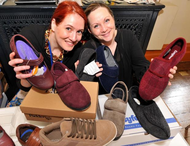 55 Plus Retirement Show at Guildhall on Saturday: Brantano footwear marketing co-ordinator, Jenni Roberts, and Malvern branch assistant manager, Sara Rimell, with some of the footwear suitable for the elderly on show.  1114545601