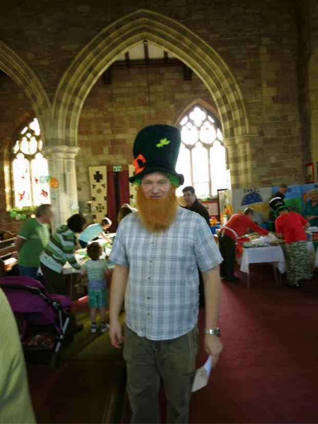 Worcester News: Revd Mark Badger celebrating St Patrick's Day.