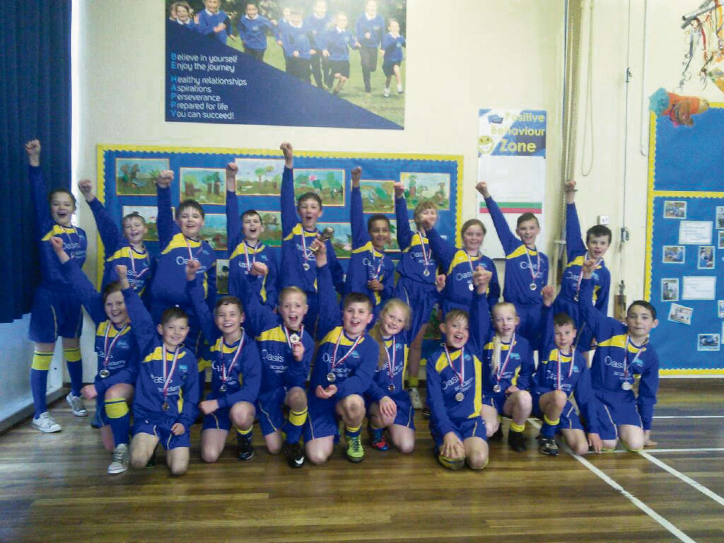 Oasis Academy Warndon pupils who took part in a tag rugby competition in Worcester.