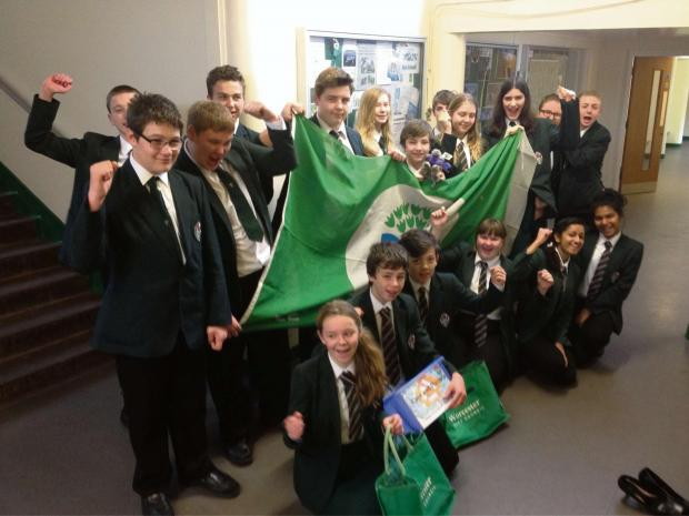 Pupils from Nunnery Wood High School celebrate the school becoming an Eco-Schools Ambassador