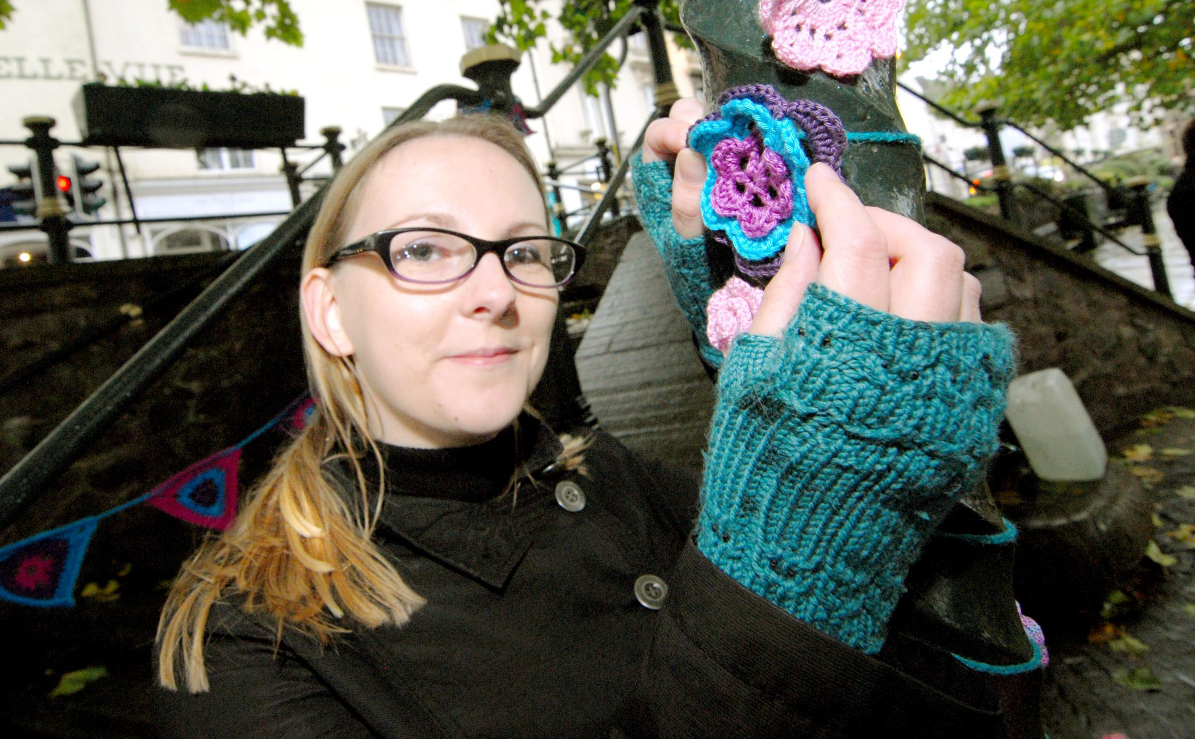 Joanne Davies-Mourby of Yarnbomb Great Malvern with one of her projects earlier this year.