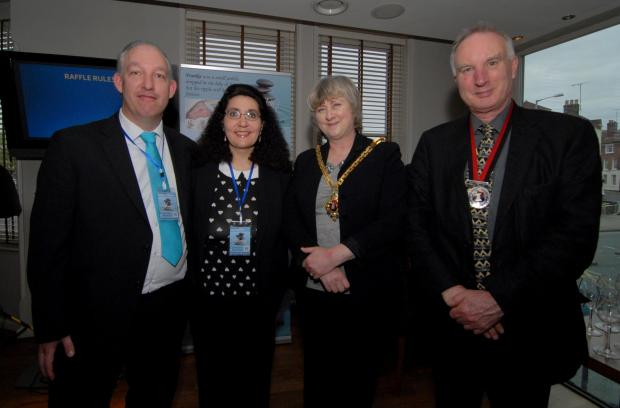Left to right - Russell and Lisa Ventura with Myor of Worcester Councillor Pat Agar and Mayor's Consort Phil Carney at the launch of the Ventura's charity Frankie's Legacy in Bindle's, set up in memory of their son. Picture by Nick Toogood