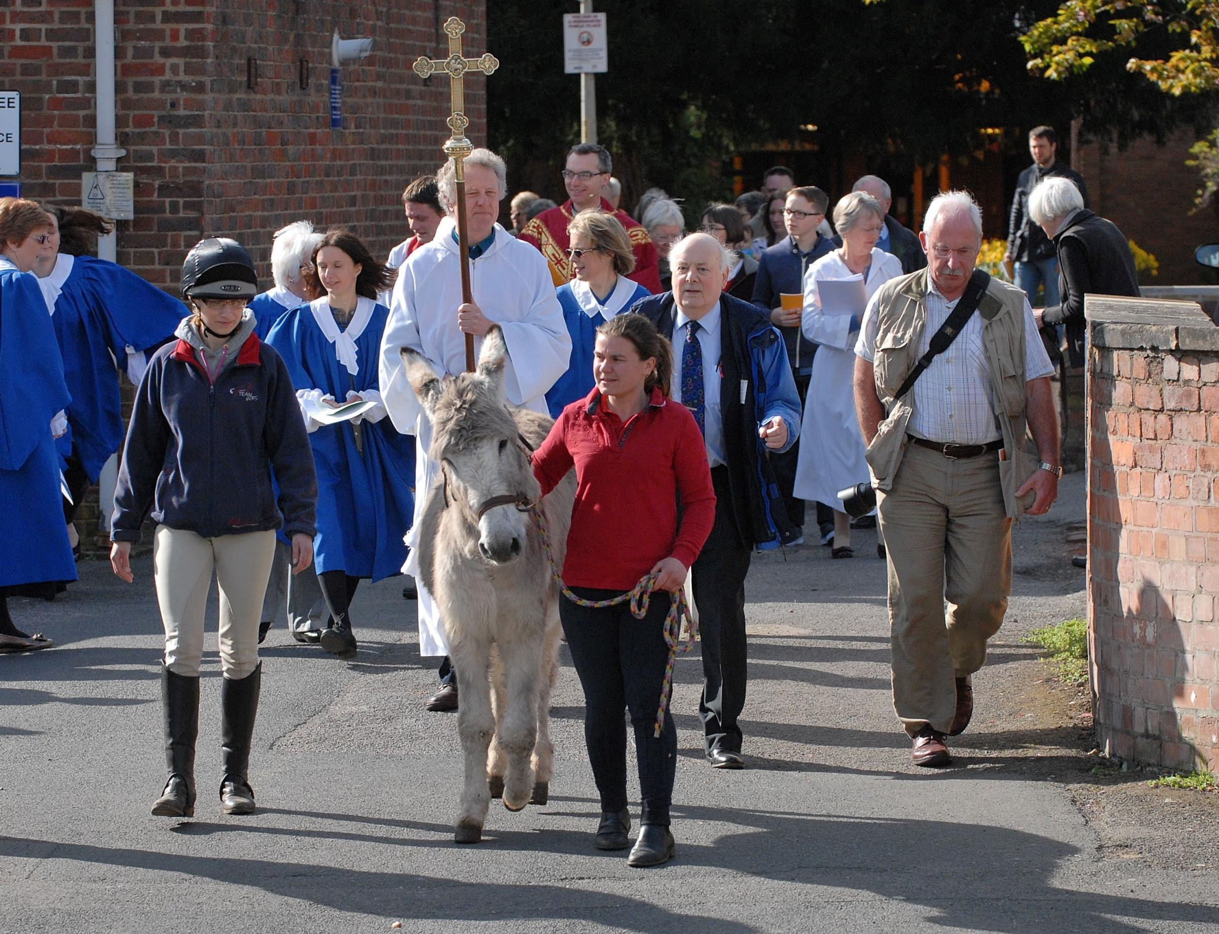 Donkey procession in Worcester is a symbol of Christ's humility