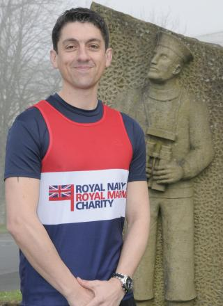 Petty Officer (PO) Matthew Bradley, who is taking part in the Plymouth half marathon